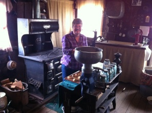 This is the daughter of the man who donated this wood stove to The Wood House. She was invited down for the day to bake cookies on this old wood-burning stove. We sampled them, and they were delicious!