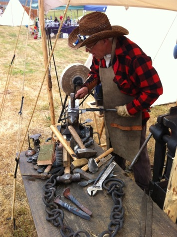 This man is a Blacksmith and was showing us his craft.