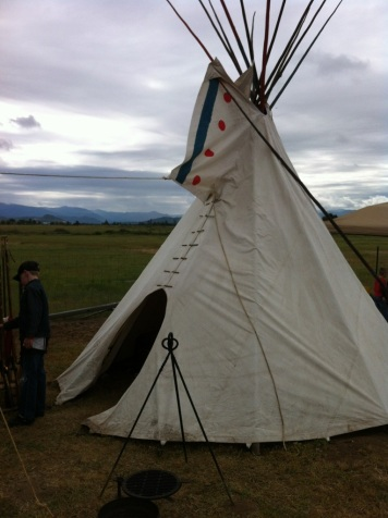 This teepee is part of The Little Butte Mountain Men's display. They are the oldest muzzle loading rifle club in Oregon.