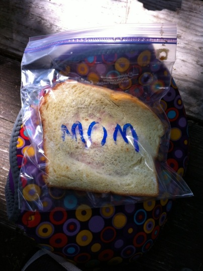 When we opened our lunch, I almost cried. Ben packed lunches for us and labeled my sandwich.