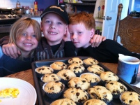 Chocolate Chip Muffins with the boys and granddaughter, Aubrey.