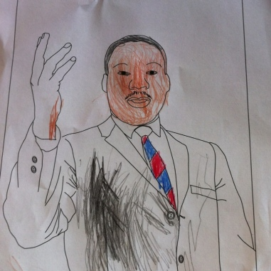 Bean colored this picture of Martin Luther King, Jr.
