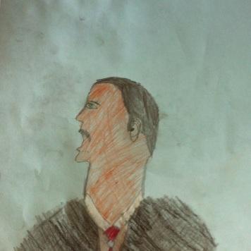 Ben drew this picture of MLK Jr. Speaking!